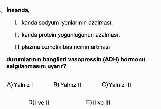 LYS Biyoloji Soruları 18. Soru