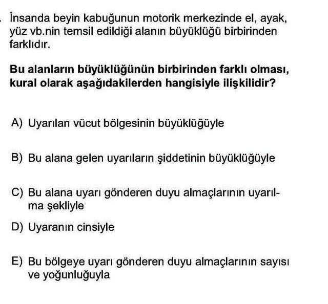 LYS Biyoloji Soruları 19. Soru