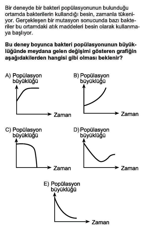 LYS Biyoloji Soruları 3. Soru