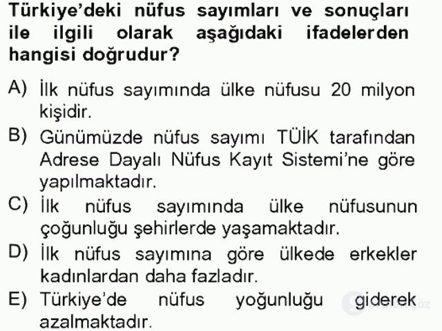 Türkiye Ekonomisi Tek Ders Sınavı 1. Soru