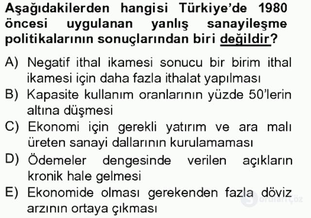 Türkiye Ekonomisi Tek Ders Sınavı 10. Soru