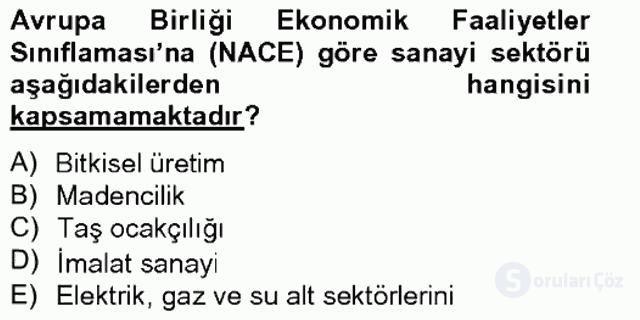 Türkiye Ekonomisi Tek Ders Sınavı 11. Soru