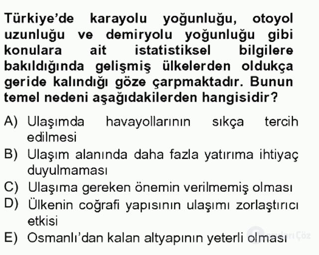 Türkiye Ekonomisi Tek Ders Sınavı 12. Soru