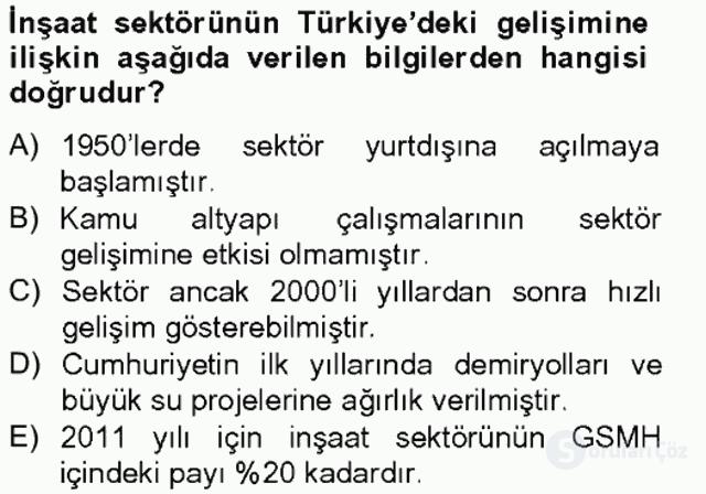 Türkiye Ekonomisi Tek Ders Sınavı 14. Soru