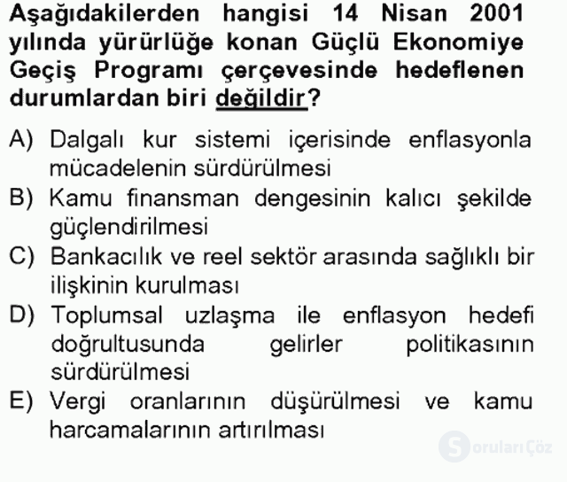 Türkiye Ekonomisi Tek Ders Sınavı 16. Soru
