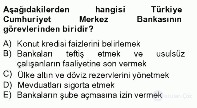 Türkiye Ekonomisi Tek Ders Sınavı 17. Soru
