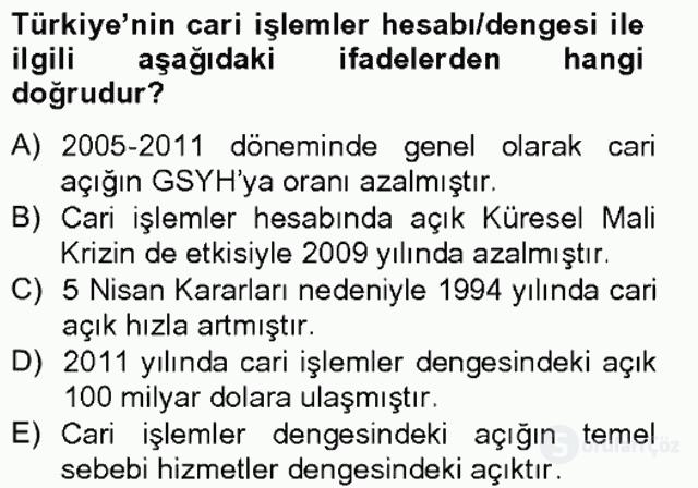 Türkiye Ekonomisi Tek Ders Sınavı 18. Soru