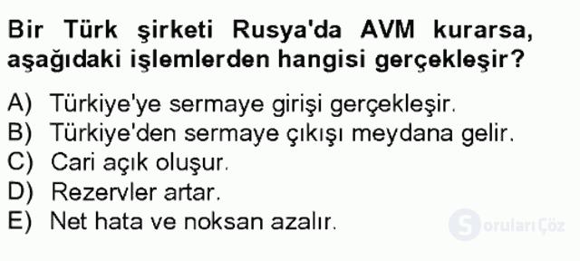 Türkiye Ekonomisi Tek Ders Sınavı 20. Soru