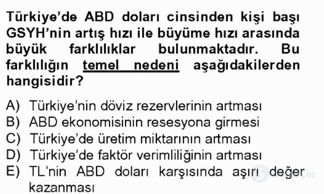 Türkiye Ekonomisi Tek Ders Sınavı 3. Soru