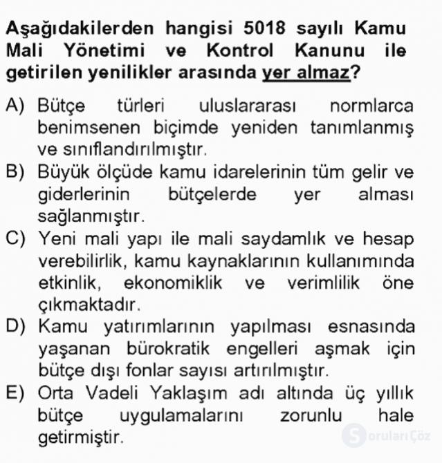 Türkiye Ekonomisi Tek Ders Sınavı 5. Soru