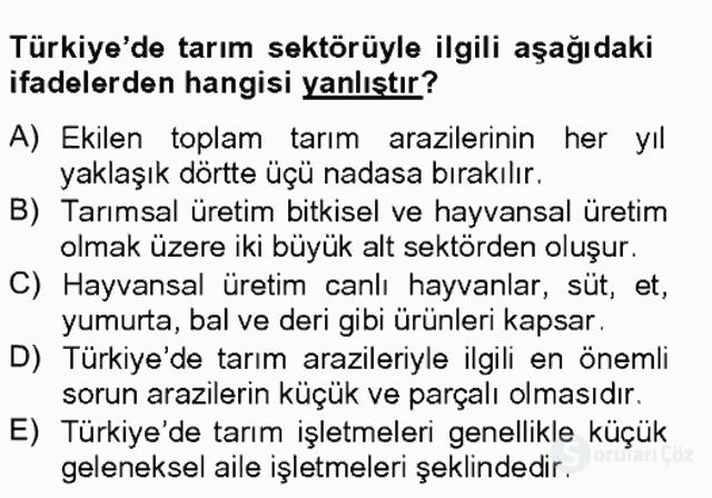 Türkiye Ekonomisi Tek Ders Sınavı 7. Soru