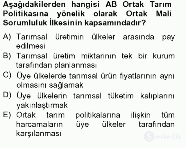 Türkiye Ekonomisi Tek Ders Sınavı 8. Soru