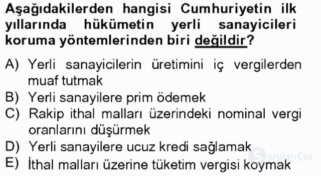 Türkiye Ekonomisi Tek Ders Sınavı 9. Soru