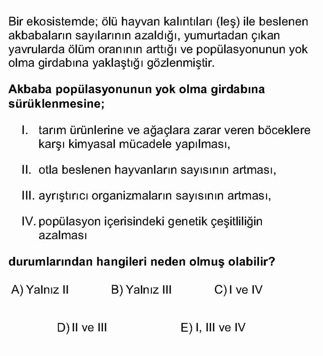 LYS Biyoloji Soruları 6. Soru
