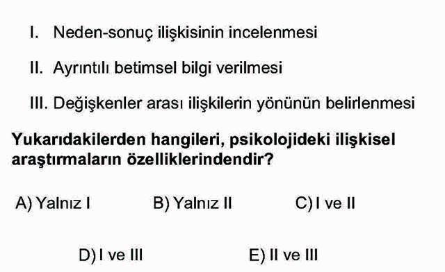 LYS Psikoloji Soruları 1. Soru