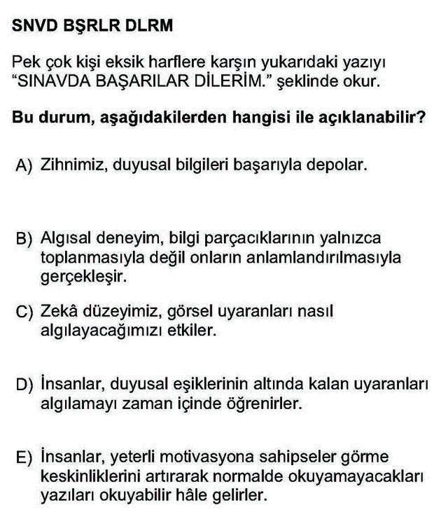 LYS Psikoloji Soruları 2. Soru