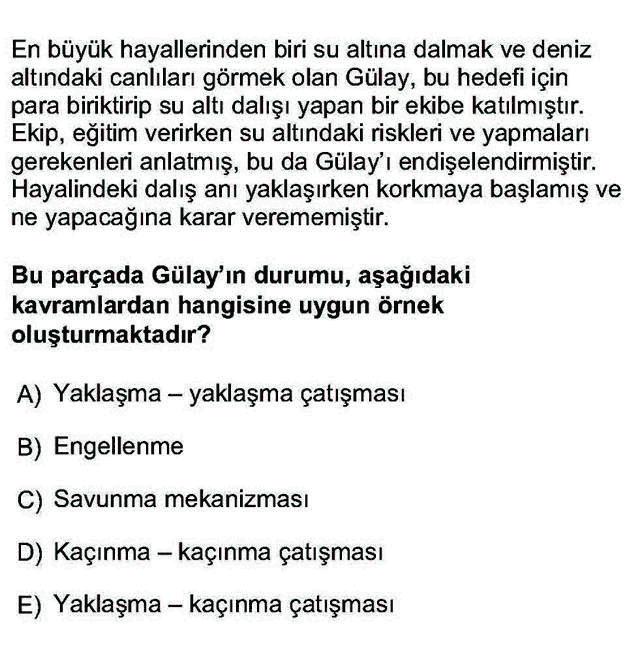 LYS Psikoloji Soruları 7. Soru