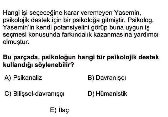 LYS Psikoloji Soruları 8. Soru