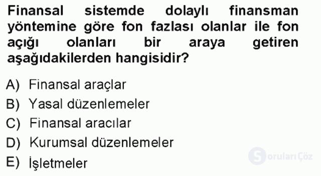 Finansal Ekonomi Tek Ders Sınavı 3. Soru