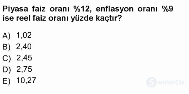 Finansal Ekonomi Tek Ders Sınavı 8. Soru