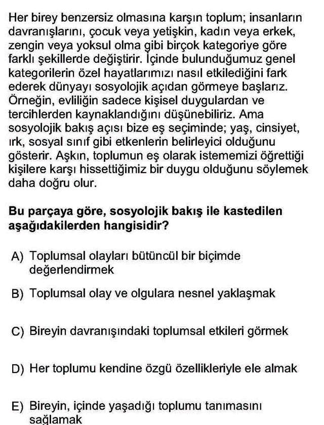 LYS Sosyoloji Soruları 9. Soru