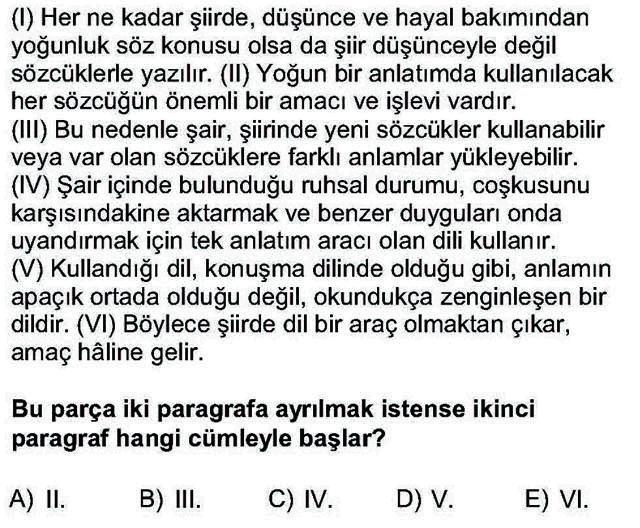 LYS Türk Dili ve Edebiyatı Soruları 11. Soru