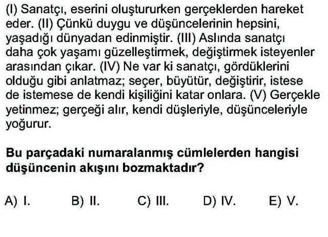 LYS Türk Dili ve Edebiyatı Soruları 12. Soru