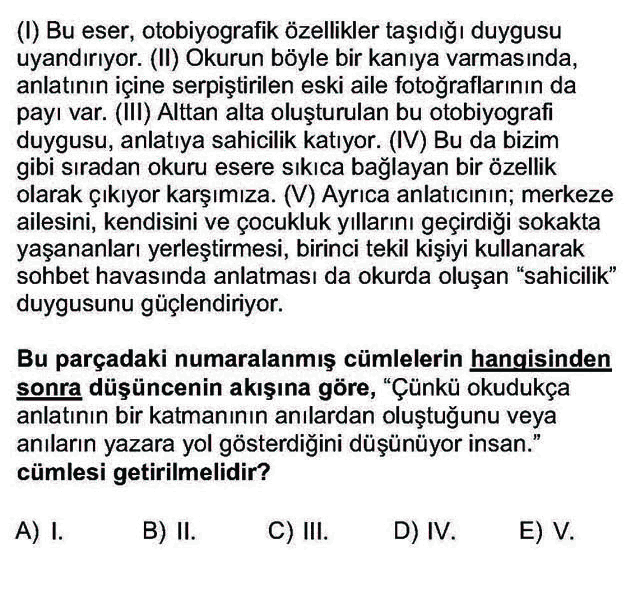 LYS Türk Dili ve Edebiyatı Soruları 13. Soru