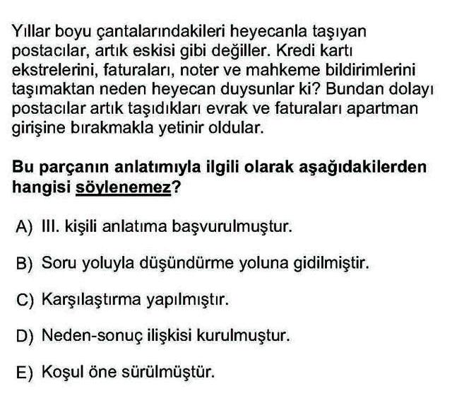LYS Türk Dili ve Edebiyatı Soruları 14. Soru
