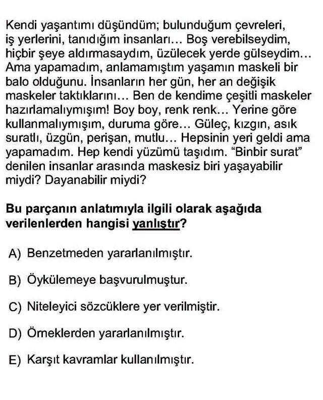 LYS Türk Dili ve Edebiyatı Soruları 15. Soru