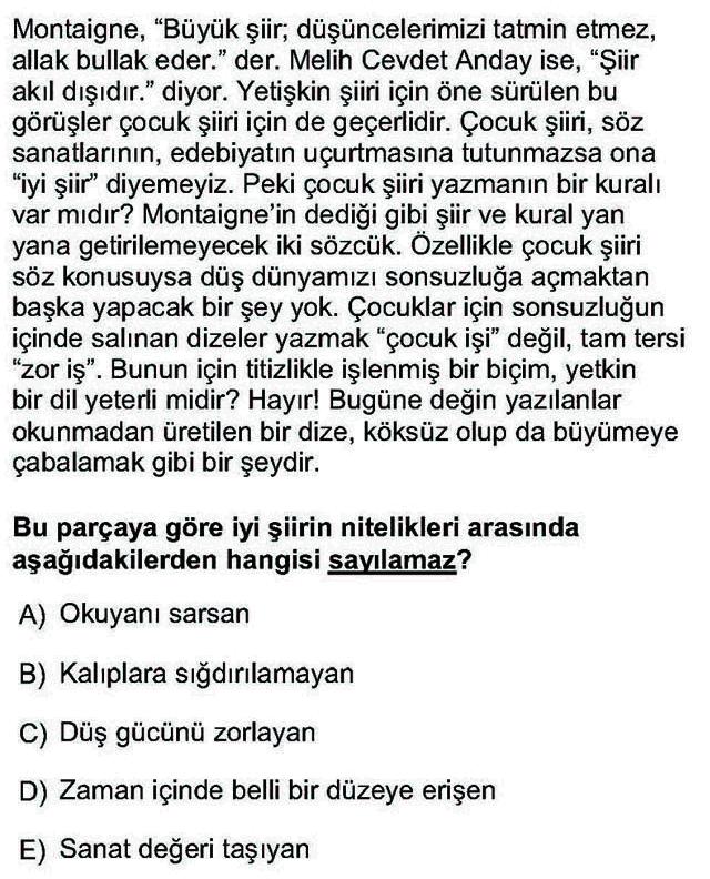 LYS Türk Dili ve Edebiyatı Soruları 16. Soru