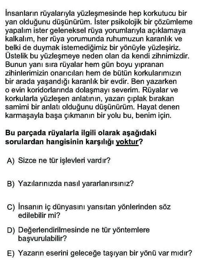 LYS Türk Dili ve Edebiyatı Soruları 17. Soru
