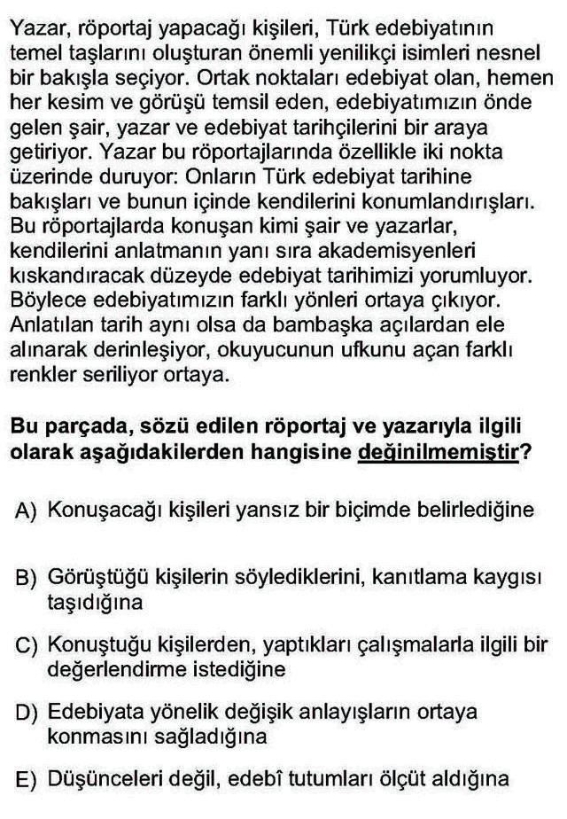 LYS Türk Dili ve Edebiyatı Soruları 18. Soru