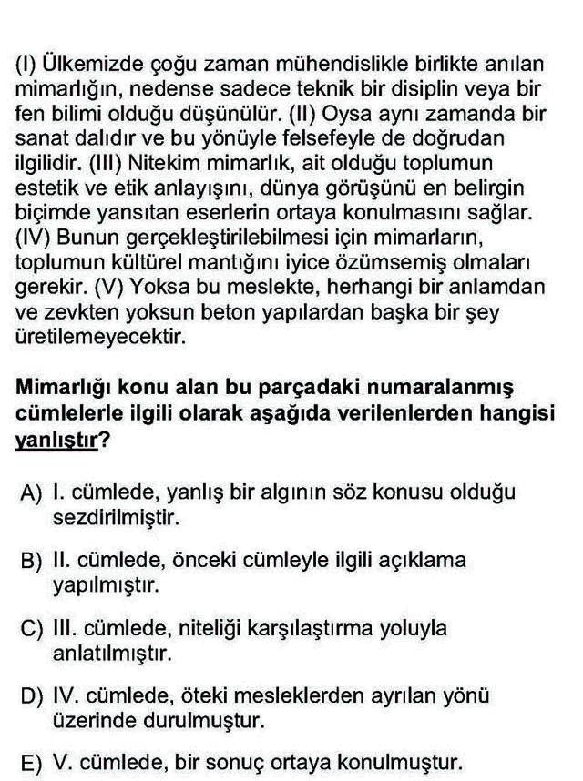 LYS Türk Dili ve Edebiyatı Soruları 2. Soru
