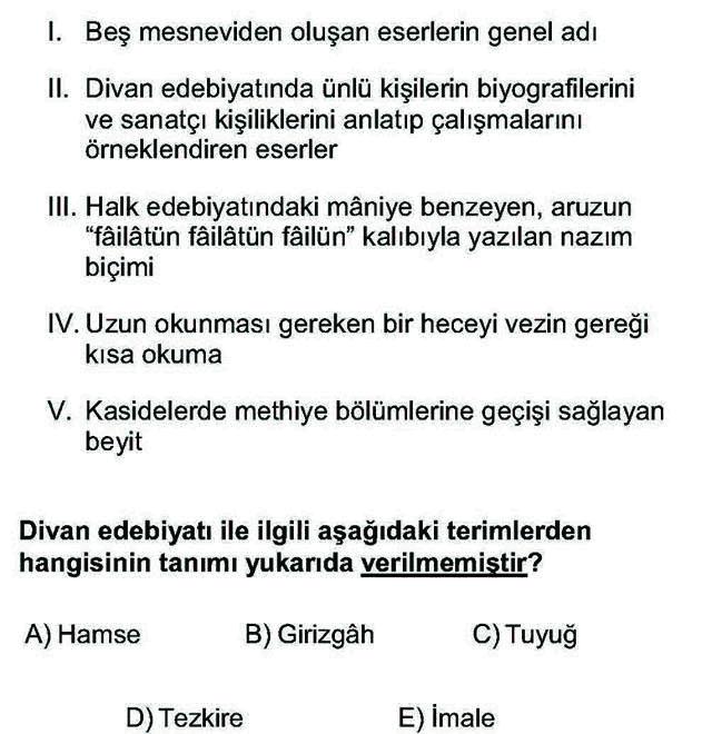 LYS Türk Dili ve Edebiyatı Soruları 29. Soru