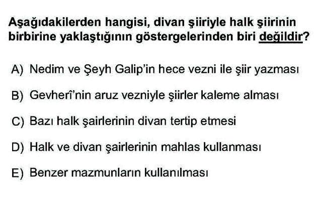 LYS Türk Dili ve Edebiyatı Soruları 32. Soru