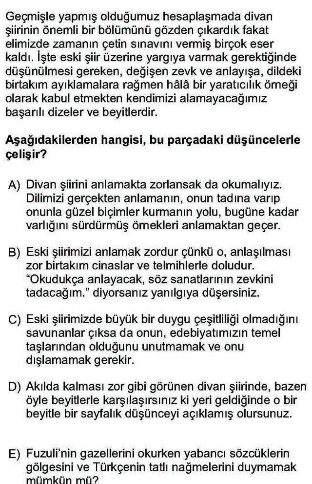 LYS Türk Dili ve Edebiyatı Soruları 34. Soru