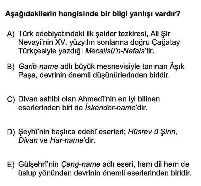 LYS Türk Dili ve Edebiyatı Soruları 35. Soru