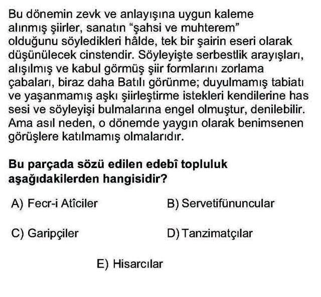 LYS Türk Dili ve Edebiyatı Soruları 40. Soru