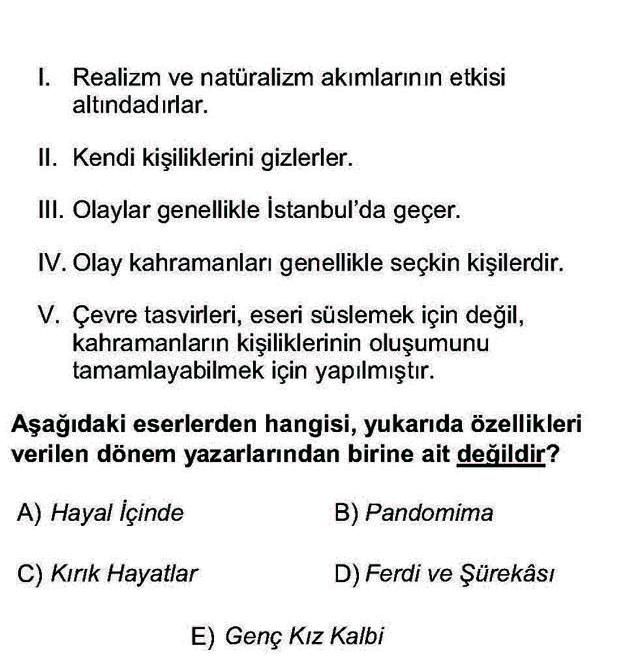 LYS Türk Dili ve Edebiyatı Soruları 41. Soru