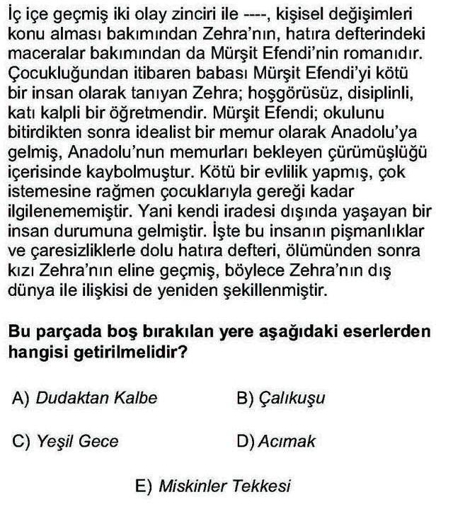 LYS Türk Dili ve Edebiyatı Soruları 42. Soru
