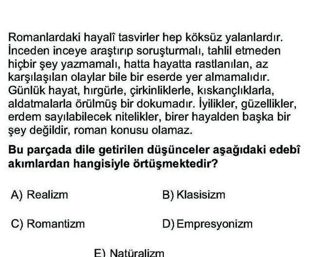 LYS Türk Dili ve Edebiyatı Soruları 47. Soru