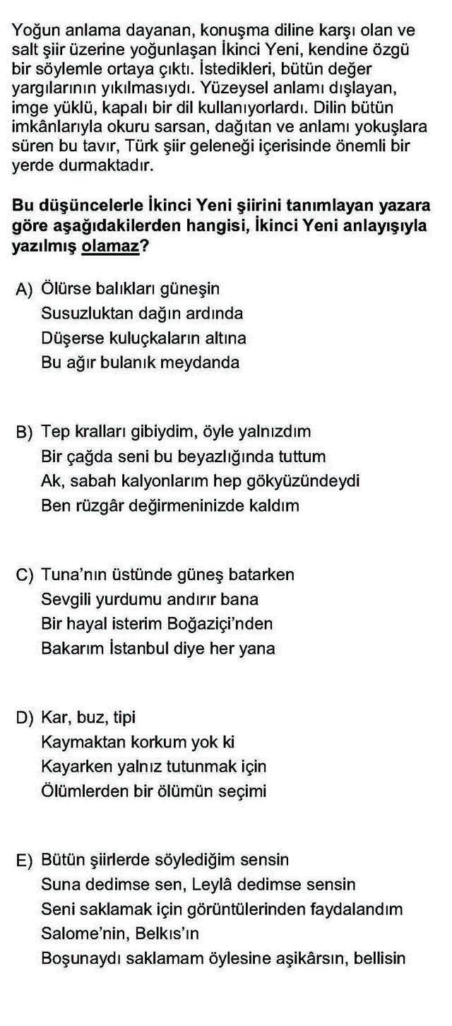 LYS Türk Dili ve Edebiyatı Soruları 49. Soru