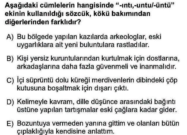 LYS Türk Dili ve Edebiyatı Soruları 5. Soru