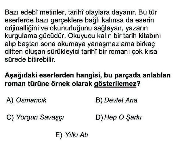 LYS Türk Dili ve Edebiyatı Soruları 52. Soru