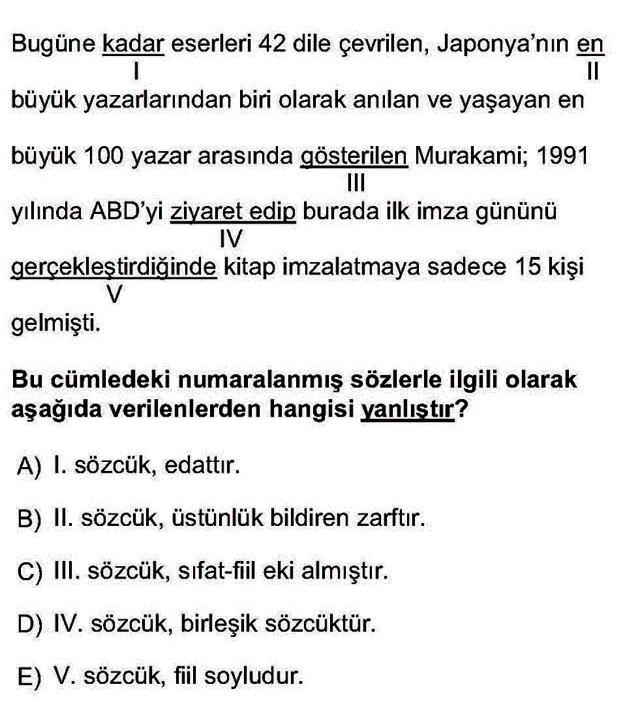 LYS Türk Dili ve Edebiyatı Soruları 7. Soru