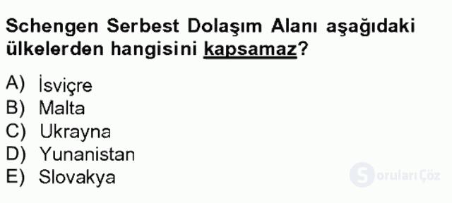 Avrupa Birliği ve Türkiye İlişkileri Tek Ders Sınavı 16. Soru