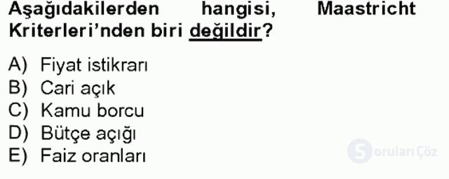 Avrupa Birliği ve Türkiye İlişkileri Tek Ders Sınavı 2. Soru