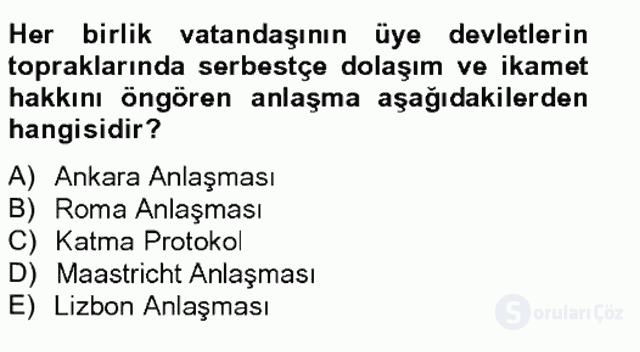 Avrupa Birliği ve Türkiye İlişkileri Tek Ders Sınavı 9. Soru