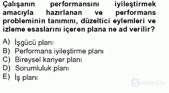 Performans Yönetimi Tek Ders Sınavı 12. Soru